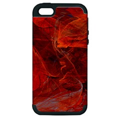 Swirly Love In Deep Red Apple Iphone 5 Hardshell Case (pc+silicone)
