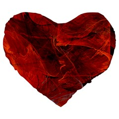 Swirly Love In Deep Red Large 19  Premium Heart Shape Cushions