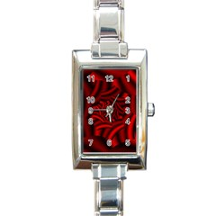 Metallic Red Rose Rectangle Italian Charm Watch