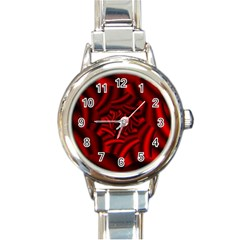Metallic Red Rose Round Italian Charm Watch