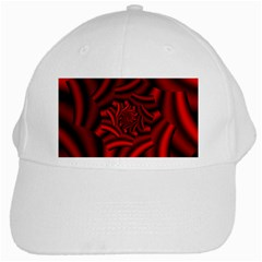 Metallic Red Rose White Cap