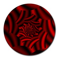 Metallic Red Rose Round Mousepads