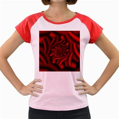 Metallic Red Rose Women s Cap Sleeve T Shirt