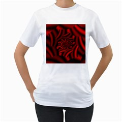 Metallic Red Rose Women s T Shirt (white) (two Sided)