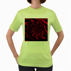 Metallic Red Rose Women s Green T Shirt