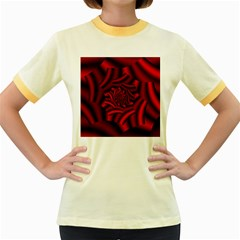 Metallic Red Rose Women s Fitted Ringer T Shirts