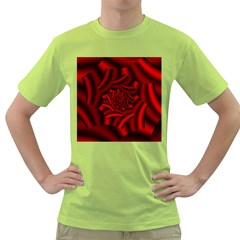 Metallic Red Rose Green T Shirt