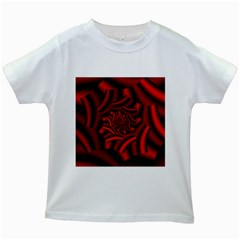 Metallic Red Rose Kids White T Shirts