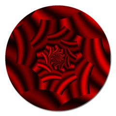 Metallic Red Rose Magnet 5  (round)