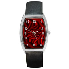 Metallic Red Rose Barrel Style Metal Watch