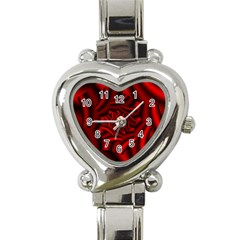Metallic Red Rose Heart Italian Charm Watch