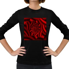 Metallic Red Rose Women s Long Sleeve Dark T Shirts