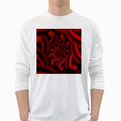 Metallic Red Rose White Long Sleeve T Shirts