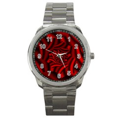 Metallic Red Rose Sport Metal Watch
