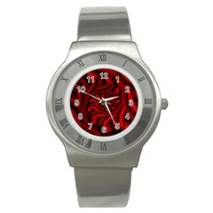 Metallic Red Rose Stainless Steel Watch by designworld65