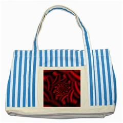 Metallic Red Rose Striped Blue Tote Bag