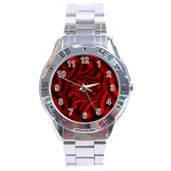 Metallic Red Rose Stainless Steel Analogue Watch by designworld65
