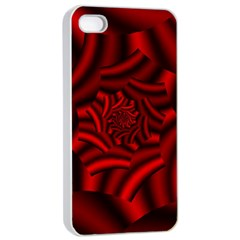 Metallic Red Rose Apple Iphone 4/4s Seamless Case (white) by designworld65