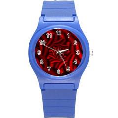 Metallic Red Rose Round Plastic Sport Watch (s) by designworld65