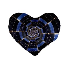 Midnight Crazy Dart Standard 16  Premium Flano Heart Shape Cushions by designworld65