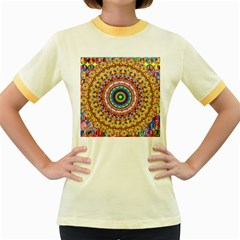Peaceful Mandala Women s Fitted Ringer T Shirts by designworld65