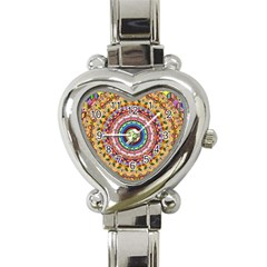 Peaceful Mandala Heart Italian Charm Watch by designworld65