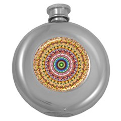 Peaceful Mandala Round Hip Flask (5 Oz) by designworld65