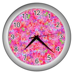 The Big Pink Party Wall Clocks (silver)  by designworld65