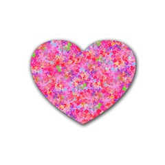 The Big Pink Party Rubber Coaster (heart)  by designworld65