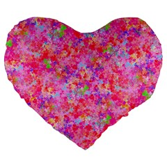 The Big Pink Party Large 19  Premium Flano Heart Shape Cushions by designworld65