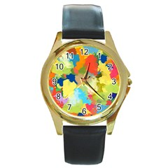 Summer Feeling Splash Round Gold Metal Watch by designworld65