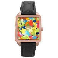 Summer Feeling Splash Rose Gold Leather Watch  by designworld65