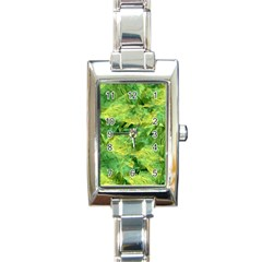 Green Springtime Leafs Rectangle Italian Charm Watch by designworld65