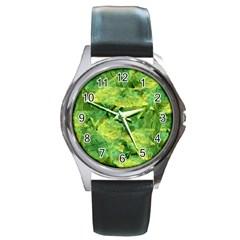 Green Springtime Leafs Round Metal Watch by designworld65