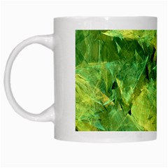 Green Springtime Leafs White Mugs by designworld65