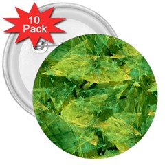 Green Springtime Leafs 3  Buttons (10 Pack)  by designworld65