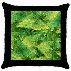Green Springtime Leafs Throw Pillow Case (black) by designworld65