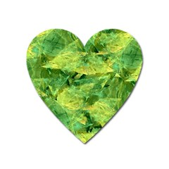 Green Springtime Leafs Heart Magnet by designworld65