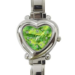 Green Springtime Leafs Heart Italian Charm Watch by designworld65