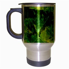 Green Springtime Leafs Travel Mug (silver Gray) by designworld65