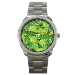 Green Springtime Leafs Sport Metal Watch by designworld65