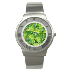 Green Springtime Leafs Stainless Steel Watch by designworld65