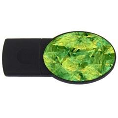 Green Springtime Leafs Usb Flash Drive Oval (4 Gb) by designworld65