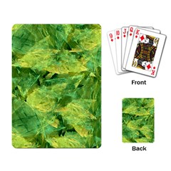 Green Springtime Leafs Playing Card by designworld65
