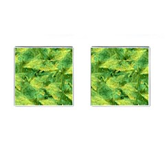 Green Springtime Leafs Cufflinks (square) by designworld65