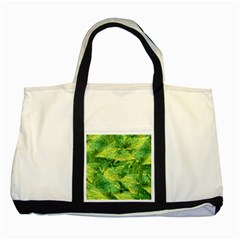 Green Springtime Leafs Two Tone Tote Bag by designworld65