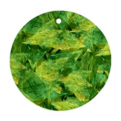 Green Springtime Leafs Round Ornament (two Sides) by designworld65