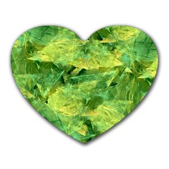 Green Springtime Leafs Heart Mousepads by designworld65