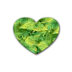 Green Springtime Leafs Rubber Coaster (heart)  by designworld65