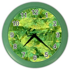 Green Springtime Leafs Color Wall Clocks by designworld65